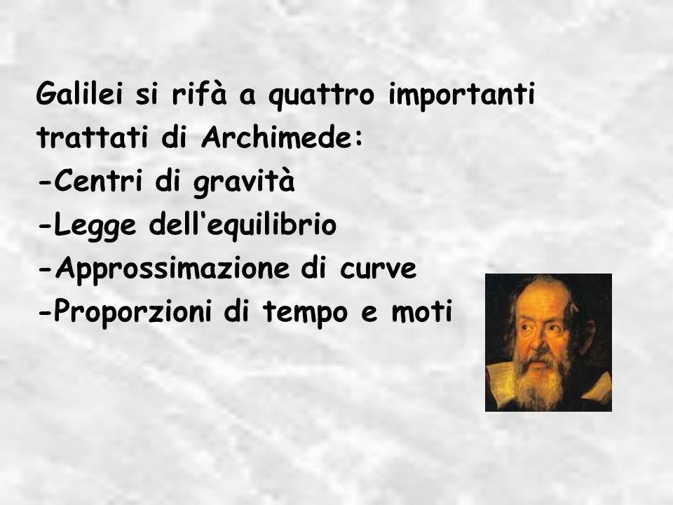 Galilei si rifà a quattro importanti trattati di Archimede: -Centri di gravità -Legge dellequilibrio -Approssimazione di curve -Proporzioni di tempo e moti