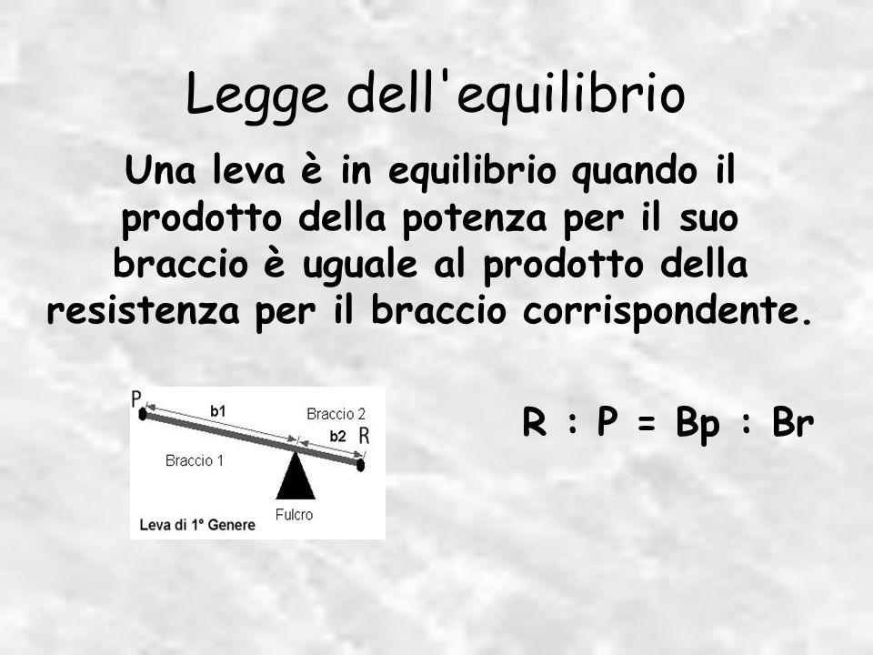 Una leva è in equilibrio quando il prodotto della potenza per il suo braccio è uguale al prodotto della resistenza per il braccio corrispondente.
