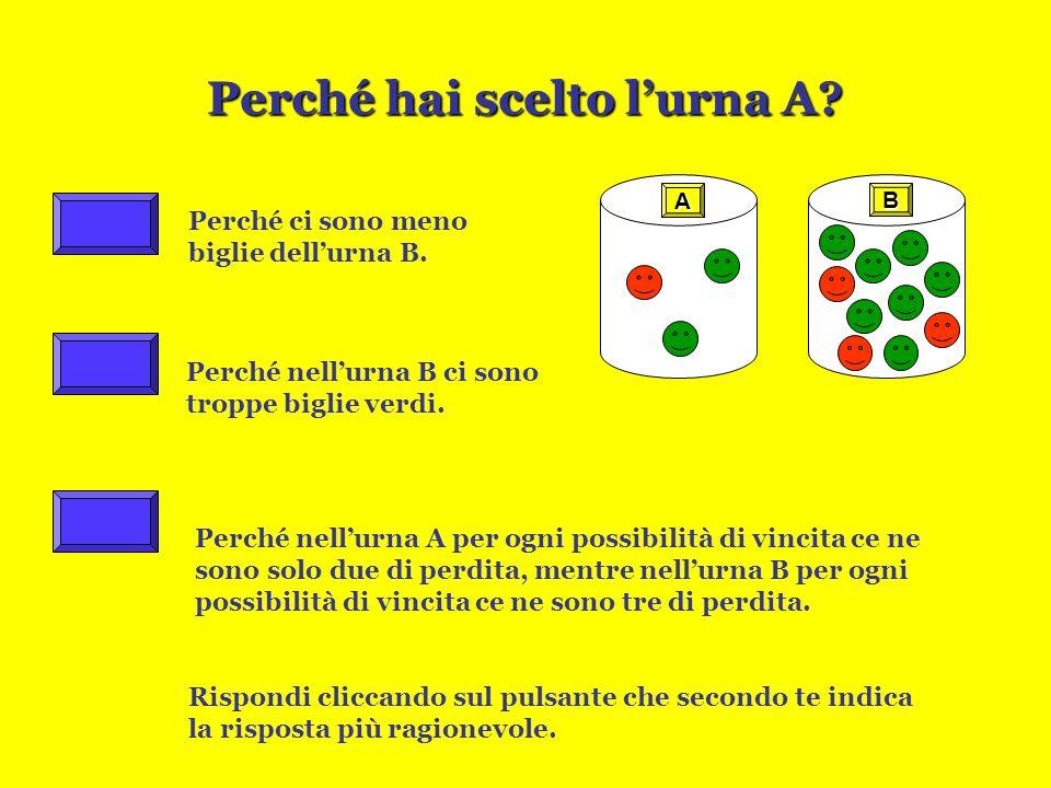 LE BIGLIE:Quarto gioco È più probabile estrarre una biglia rossa dallurna dallurna oppure cè la stessa probabilità per entrambe le urne? Fai la tua pr