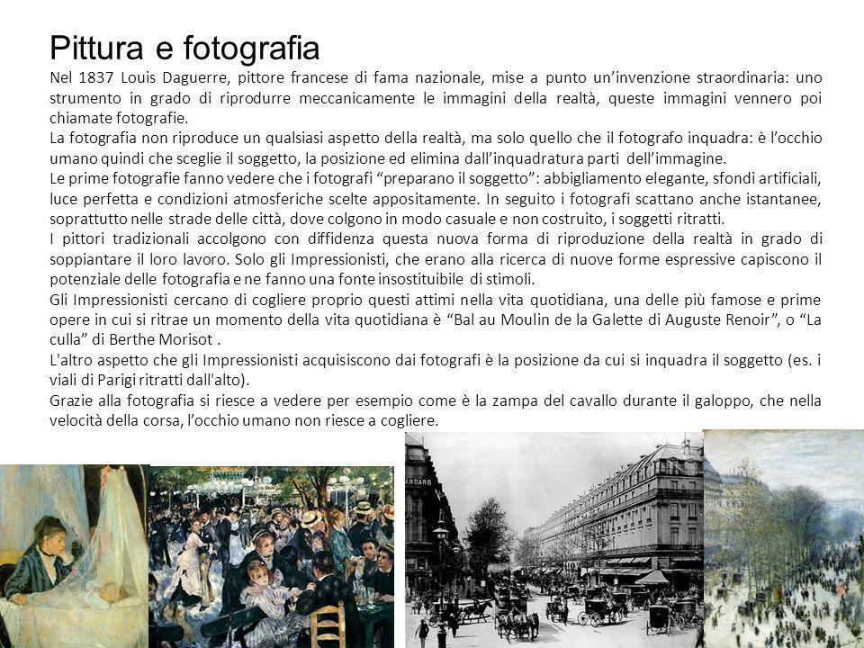 Pittura e fotografia Nel 1837 Louis Daguerre, pittore francese di fama nazionale, mise a punto uninvenzione straordinaria: uno strumento in grado di riprodurre meccanicamente le immagini della realtà, queste immagini vennero poi chiamate fotografie.