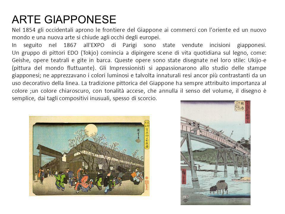 ARTE GIAPPONESE Nel 1854 gli occidentali aprono le frontiere del Giappone ai commerci con l oriente ed un nuovo mondo e una nuova arte si chiude agli occhi degli europei.