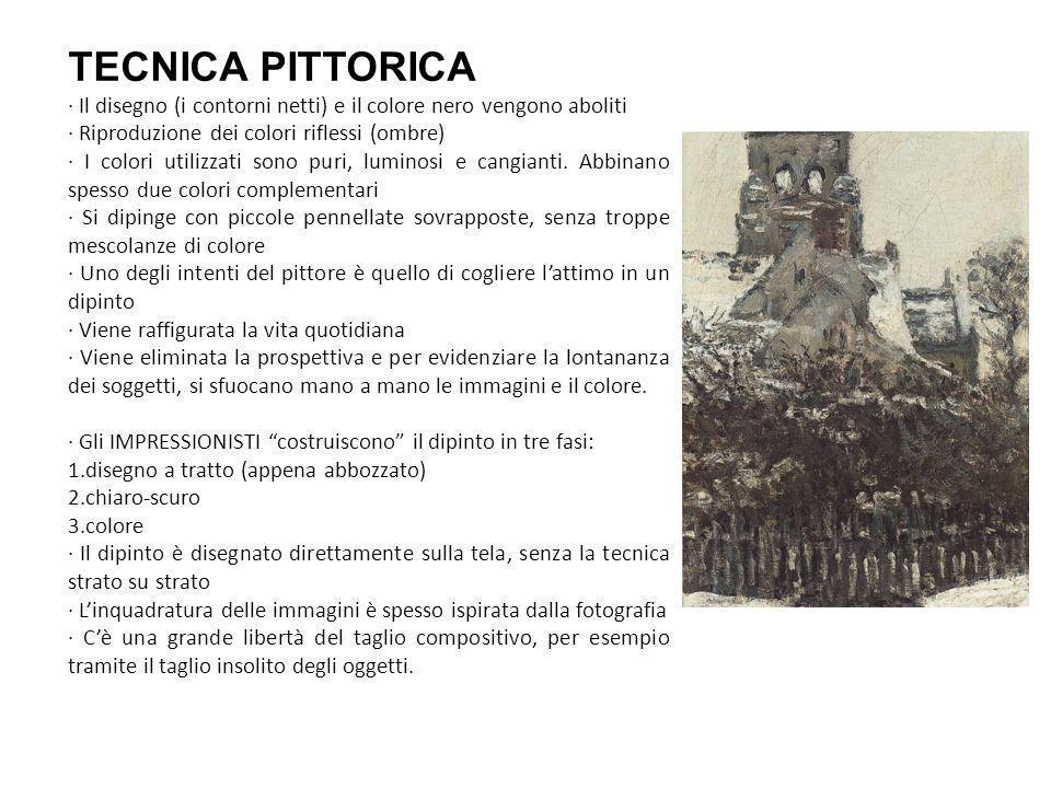TECNICA PITTORICA · Il disegno (i contorni netti) e il colore nero vengono aboliti · Riproduzione dei colori riflessi (ombre) · I colori utilizzati sono puri, luminosi e cangianti.