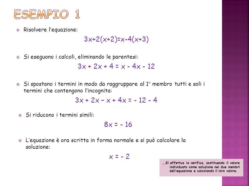 Risolvere lequazione: 3x+2(x+2)=x-4(x+3) Si eseguono i calcoli, eliminando le parentesi: 3x + 2x + 4 = x - 4x - 12 Si spostano i termini in modo da ra
