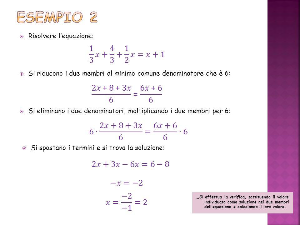 Risolvere lequazione: Si riducono i due membri al minimo comune denominatore che è 6: Si eliminano i due denominatori, moltiplicando i due membri per