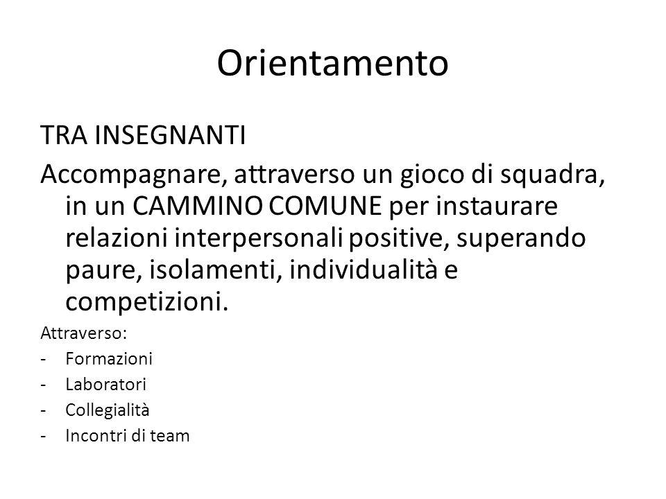 Orientamento TRA INSEGNANTI Accompagnare, attraverso un gioco di squadra, in un CAMMINO COMUNE per instaurare relazioni interpersonali positive, superando paure, isolamenti, individualità e competizioni.