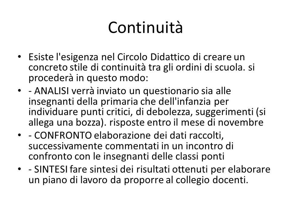 Continuità Esiste l esigenza nel Circolo Didattico di creare un concreto stile di continuità tra gli ordini di scuola.
