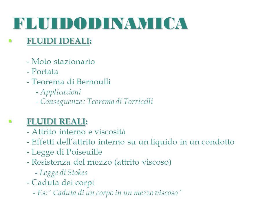 FLUIDODINAMICA FLUIDI IDEALI: FLUIDI IDEALI: - Moto stazionario - Portata - Teorema di Bernoulli - - Applicazioni - Conseguenze : Teorema di Torricell