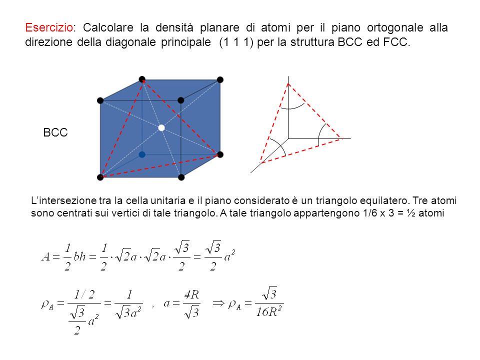 Esercizio: Calcolare la densità planare di atomi per il piano ortogonale alla direzione della diagonale principale (1 1 1) per la struttura BCC ed FCC