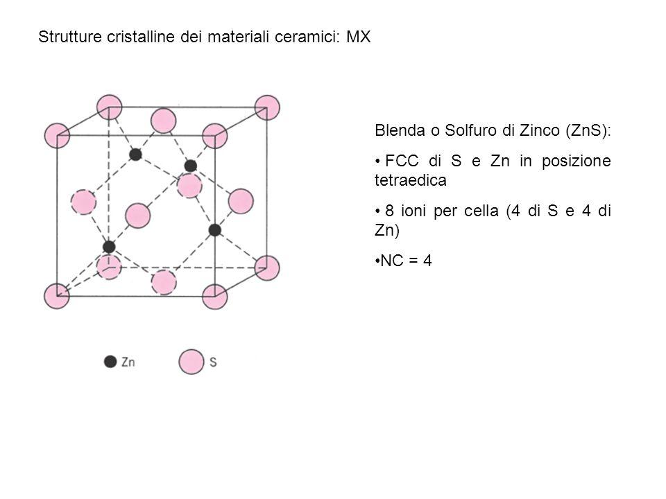 Strutture cristalline dei materiali ceramici: MX Blenda o Solfuro di Zinco (ZnS): FCC di S e Zn in posizione tetraedica 8 ioni per cella (4 di S e 4 d