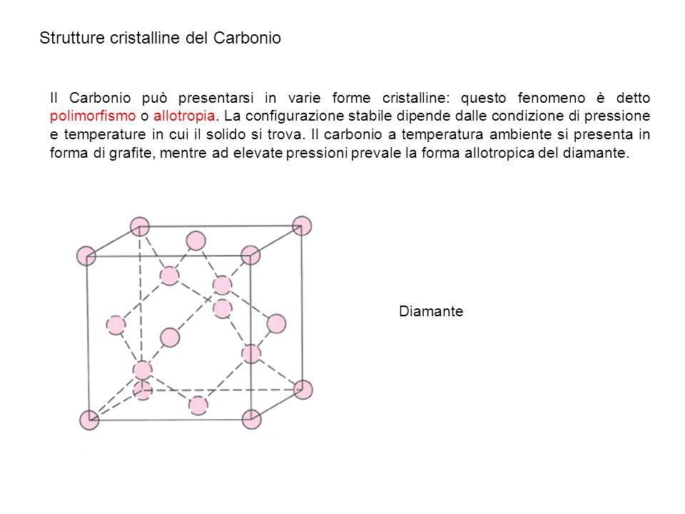 Strutture cristalline del Carbonio Il Carbonio può presentarsi in varie forme cristalline: questo fenomeno è detto polimorfismo o allotropia. La confi