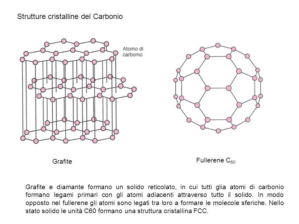 Grafite Strutture cristalline del Carbonio Fullerene C 60 Grafite e diamante formano un solido reticolato, in cui tutti glia atomi di carbonio formano