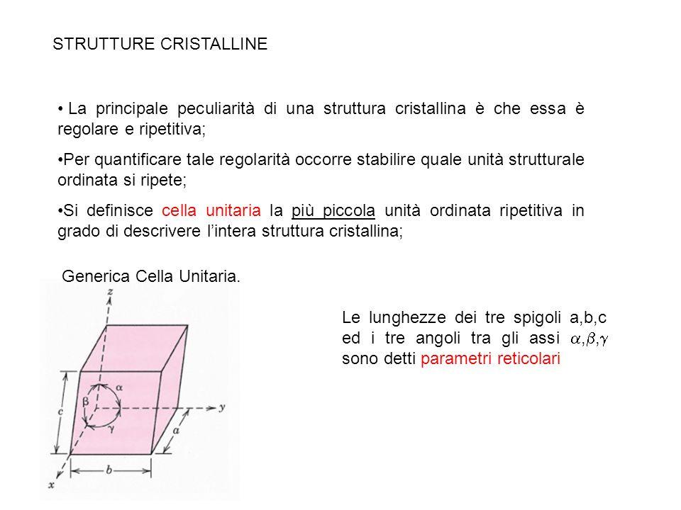 STRUTTURE CRISTALLINE La caratteristica chiave della cella unitaria è che essa contiene la descrizione totale della struttura, infatti la struttura cristallina può pensarsi generata dalla ripetizione di unità cellulari adiacenti nello spazio tridimensionale; Il vantaggio è che con un numero limitato di parametri è possibile descrivere la struttura;