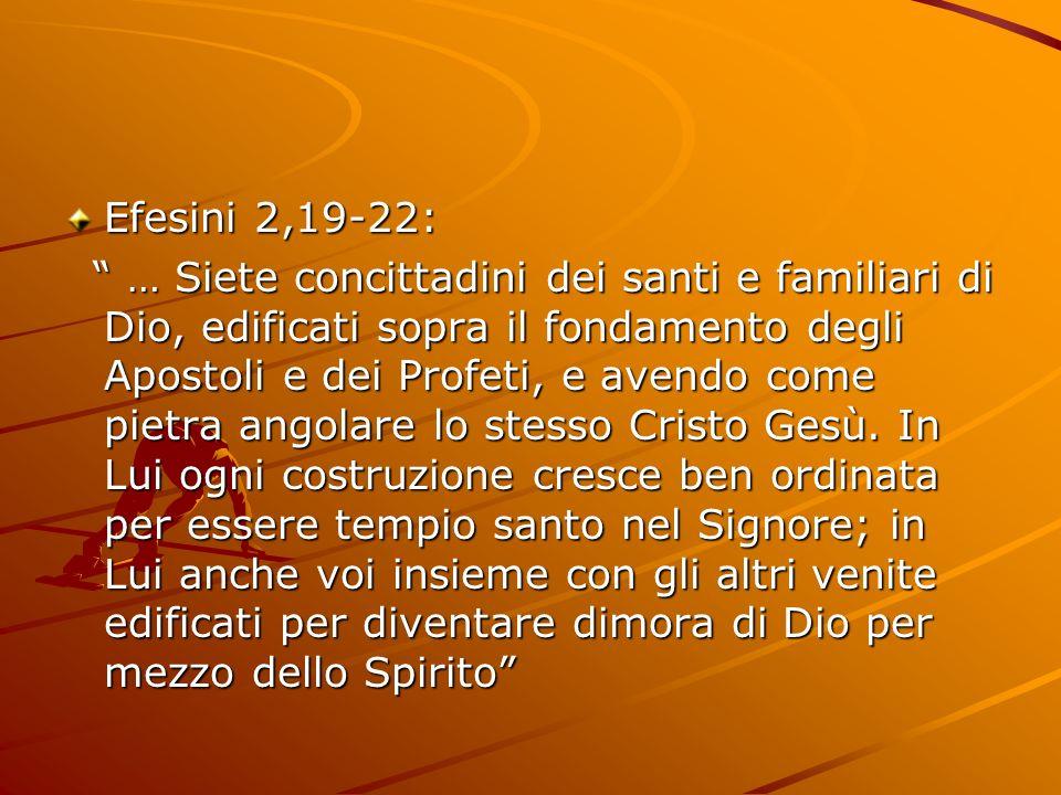 Efesini 2,19-22: … Siete concittadini dei santi e familiari di Dio, edificati sopra il fondamento degli Apostoli e dei Profeti, e avendo come pietra a