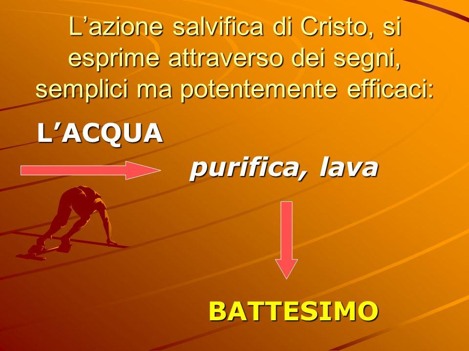 Lazione salvifica di Cristo, si esprime attraverso dei segni, semplici ma potentemente efficaci: LACQUA purifica, lava BATTESIMO