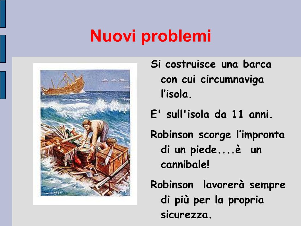 Nuovi problemi Si costruisce una barca con cui circumnaviga lisola. E' sull'isola da 11 anni. Robinson scorge limpronta di un piede....è un cannibale!