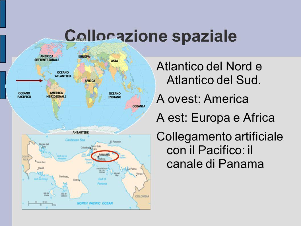 Collocazione spaziale Atlantico del Nord e Atlantico del Sud. A ovest: America A est: Europa e Africa Collegamento artificiale con il Pacifico: il can