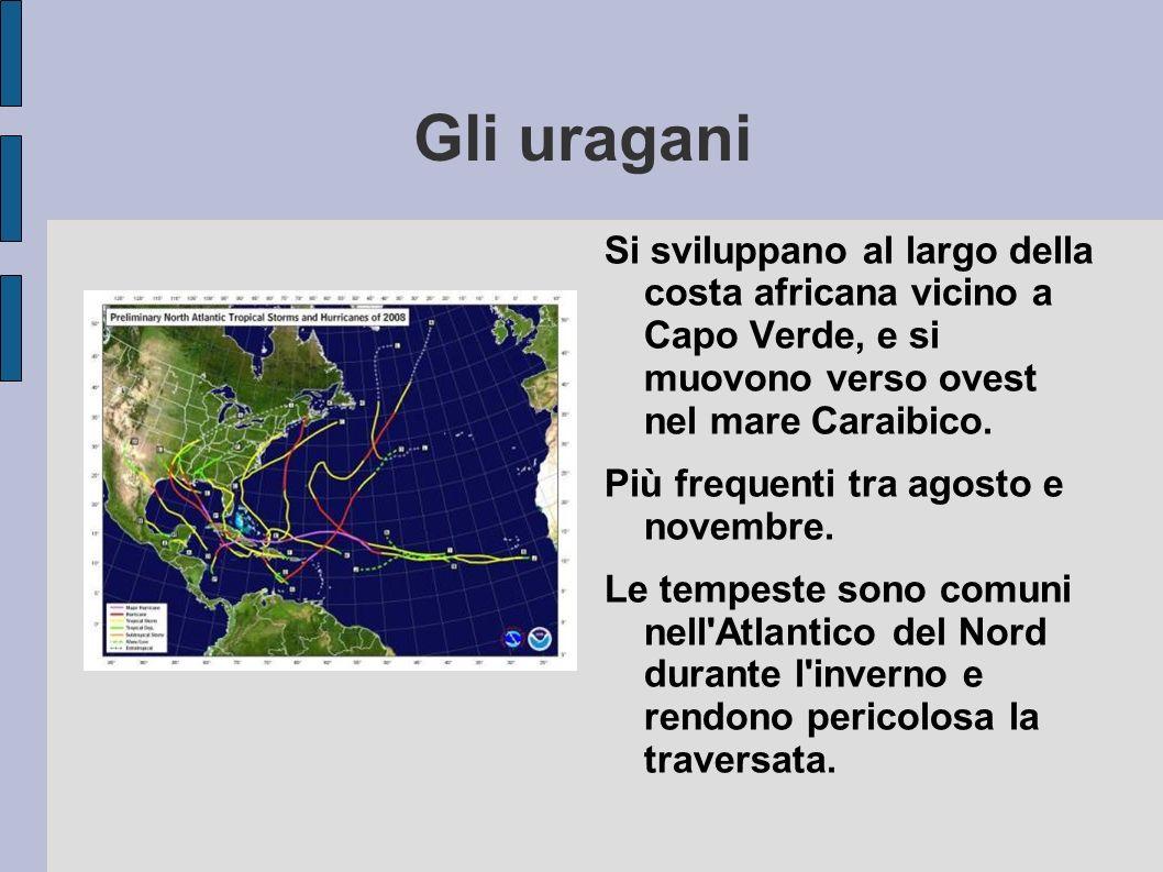 Gli uragani Si sviluppano al largo della costa africana vicino a Capo Verde, e si muovono verso ovest nel mare Caraibico. Più frequenti tra agosto e n