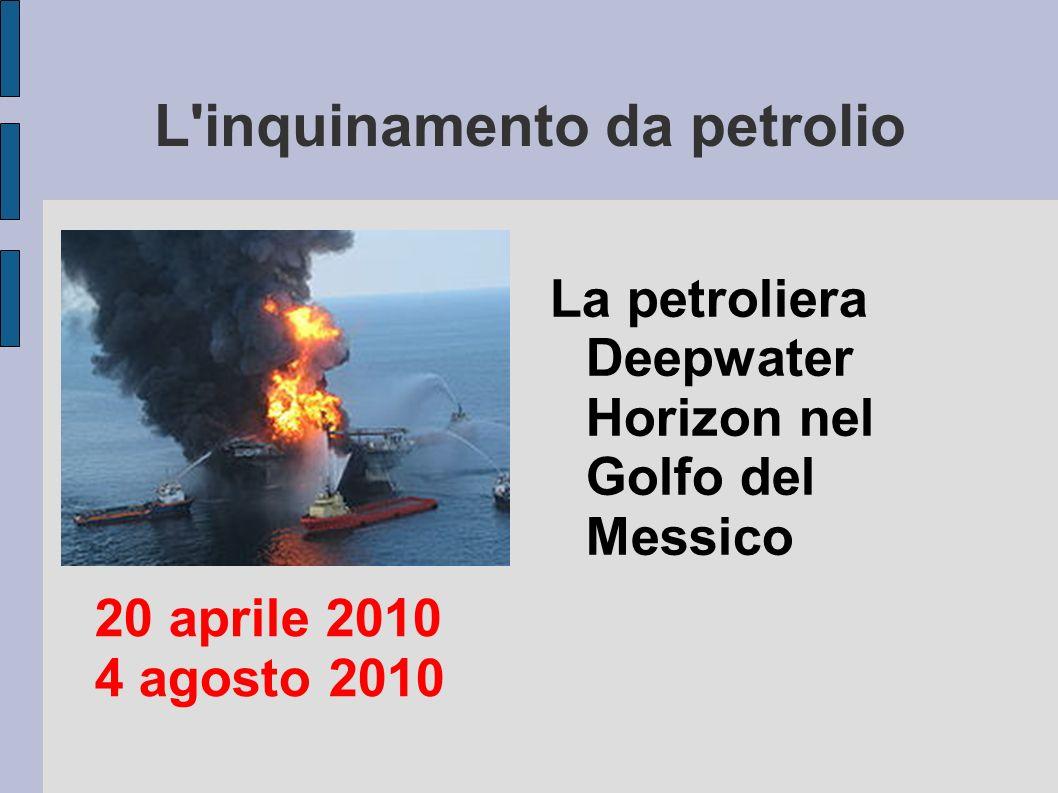 L'inquinamento da petrolio La petroliera Deepwater Horizon nel Golfo del Messico 20 aprile 2010 4 agosto 2010