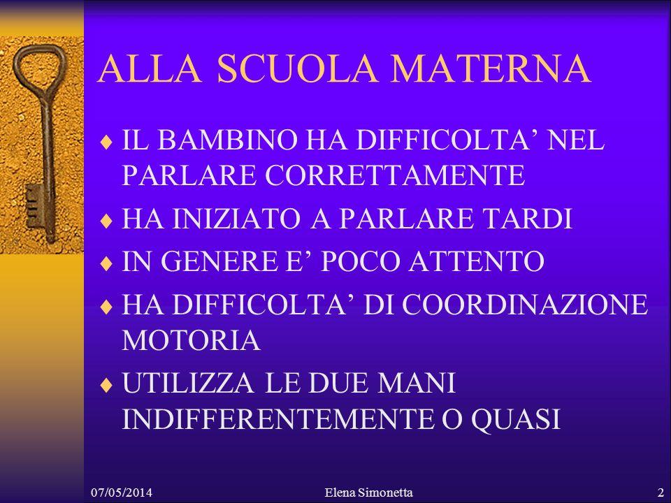 07/05/2014Elena Simonetta2 ALLA SCUOLA MATERNA IL BAMBINO HA DIFFICOLTA NEL PARLARE CORRETTAMENTE HA INIZIATO A PARLARE TARDI IN GENERE E POCO ATTENTO
