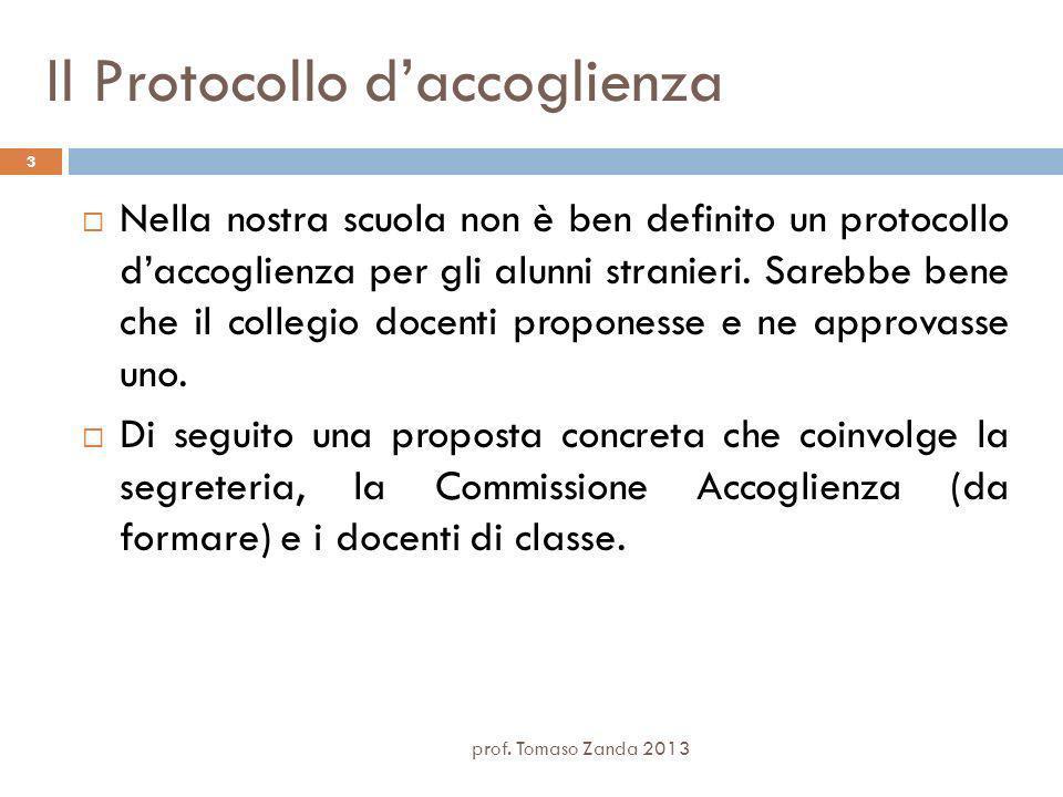 Il Protocollo daccoglienza Nella nostra scuola non è ben definito un protocollo daccoglienza per gli alunni stranieri.
