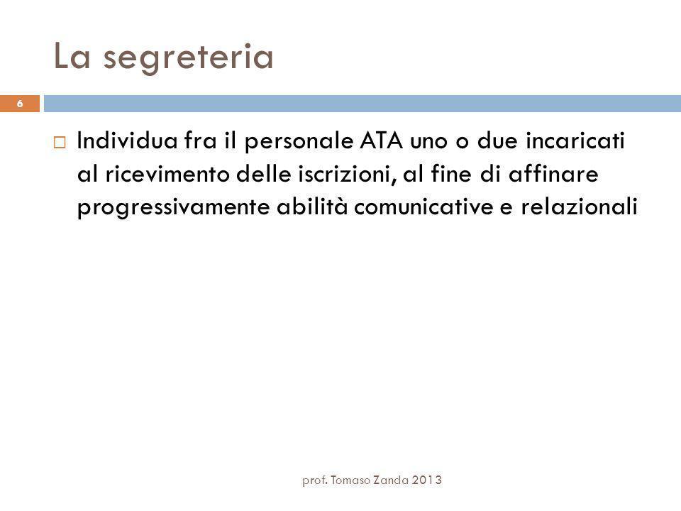 La segreteria Individua fra il personale ATA uno o due incaricati al ricevimento delle iscrizioni, al fine di affinare progressivamente abilità comunicative e relazionali prof.