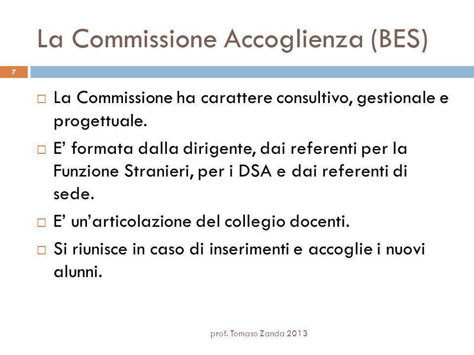 La Commissione Accoglienza (BES) La Commissione ha carattere consultivo, gestionale e progettuale.