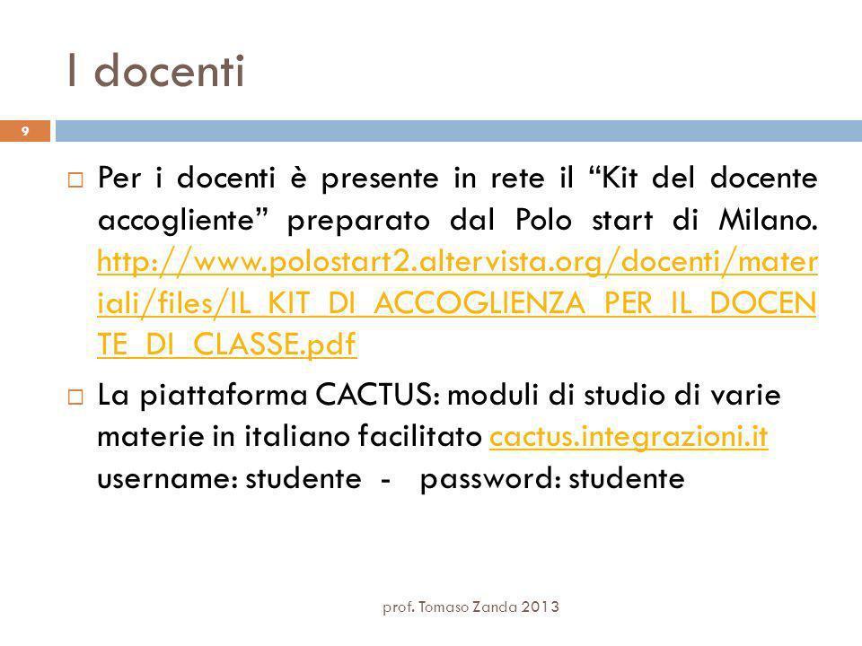 I docenti Per i docenti è presente in rete il Kit del docente accogliente preparato dal Polo start di Milano.