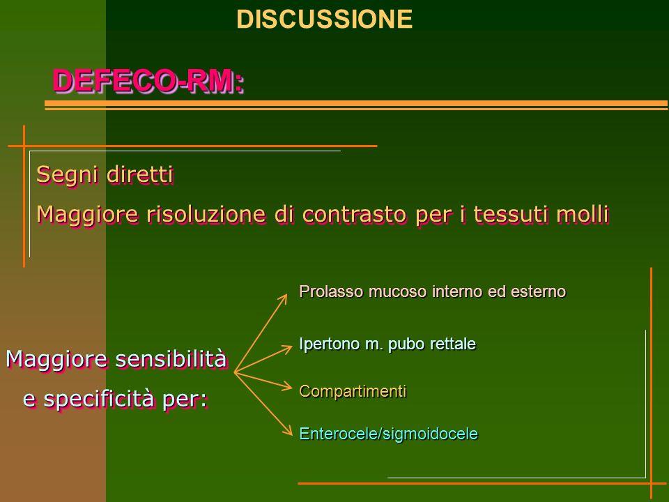 DEFECO-RM:DEFECO-RM: Segni diretti Maggiore risoluzione di contrasto per i tessuti molli Segni diretti Maggiore risoluzione di contrasto per i tessuti molli Maggiore sensibilità e specificità per: Maggiore sensibilità e specificità per: Prolasso mucoso interno ed esterno Ipertono m.