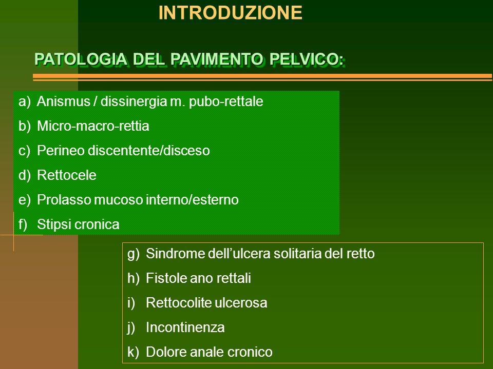 PATOLOGIA DEL PAVIMENTO PELVICO: a)Anismus / dissinergia m.