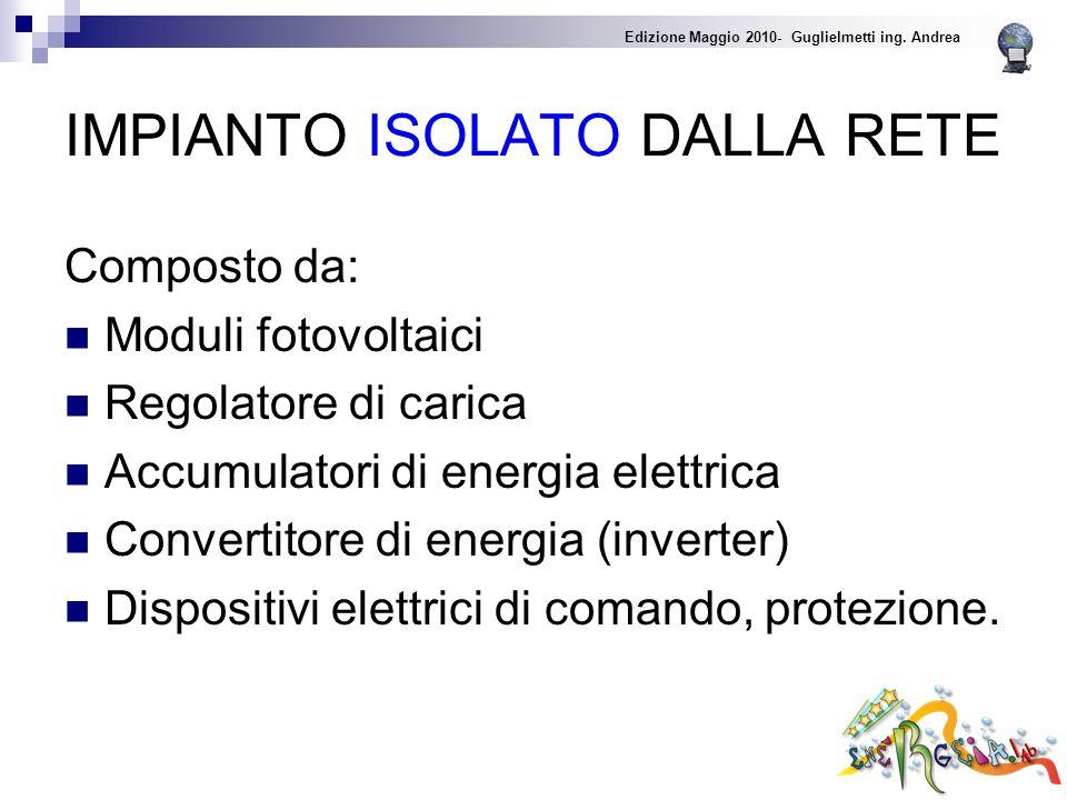 IMPIANTO ISOLATO DALLA RETE Composto da: Moduli fotovoltaici Regolatore di carica Accumulatori di energia elettrica Convertitore di energia (inverter) Dispositivi elettrici di comando, protezione.