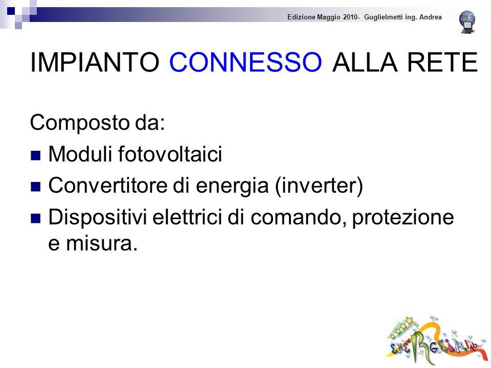 IMPIANTO CONNESSO ALLA RETE Composto da: Moduli fotovoltaici Convertitore di energia (inverter) Dispositivi elettrici di comando, protezione e misura.