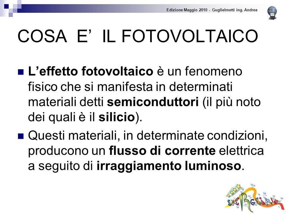 COSA E IL FOTOVOLTAICO Leffetto fotovoltaico è un fenomeno fisico che si manifesta in determinati materiali detti semiconduttori (il più noto dei quali è il silicio).