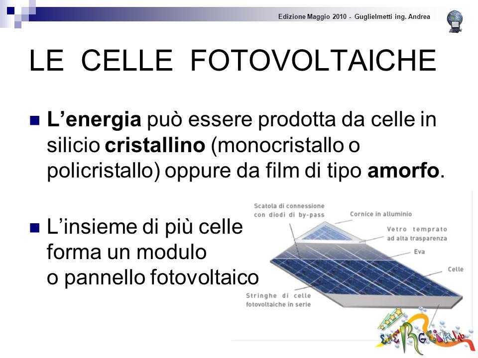 LE CELLE FOTOVOLTAICHE Lenergia può essere prodotta da celle in silicio cristallino (monocristallo o policristallo) oppure da film di tipo amorfo.