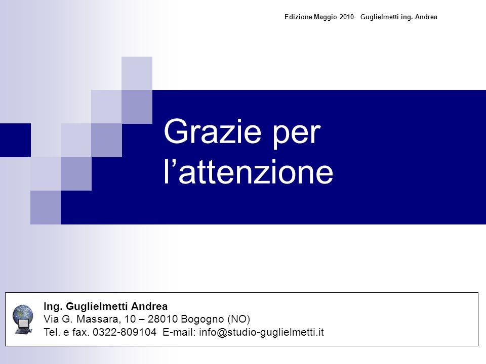 Grazie per lattenzione Ing. Guglielmetti Andrea Via G.