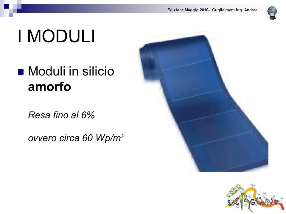 I MODULI Moduli in silicio amorfo Resa fino al 6% ovvero circa 60 Wp/m 2 Edizione Maggio 2010- Guglielmetti ing.