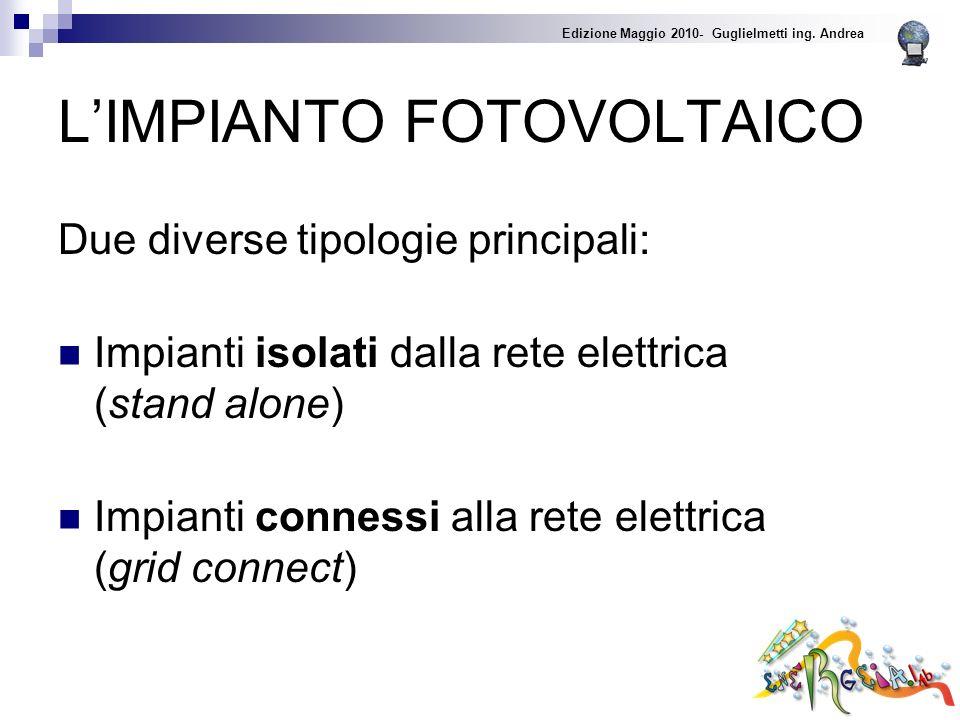 LIMPIANTO FOTOVOLTAICO Due diverse tipologie principali: Impianti isolati dalla rete elettrica (stand alone) Impianti connessi alla rete elettrica (grid connect) Edizione Maggio 2010- Guglielmetti ing.