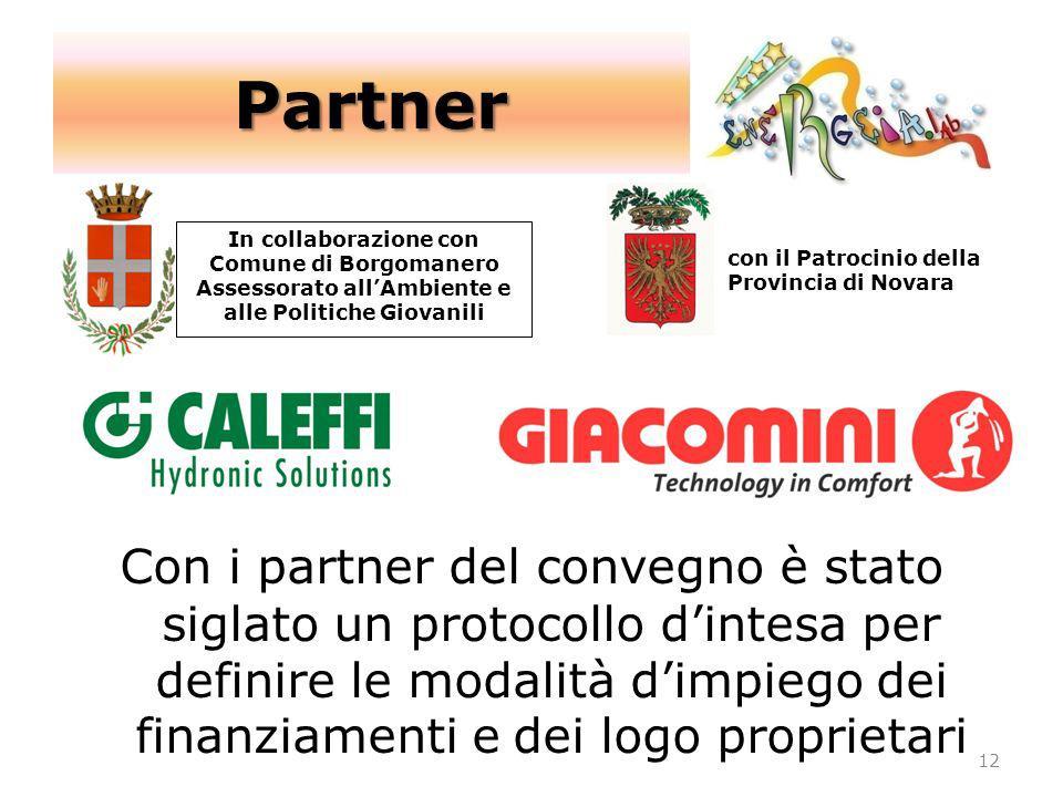 In collaborazione con Comune di Borgomanero Assessorato allAmbiente e alle Politiche Giovanili 12 con il Patrocinio della Provincia di Novara Partner