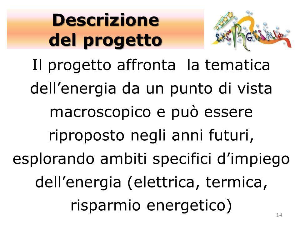 14 Il progetto affronta la tematica dellenergia da un punto di vista macroscopico e può essere riproposto negli anni futuri, esplorando ambiti specifi