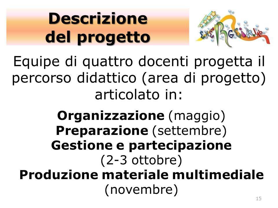 Equipe di quattro docenti progetta il percorso didattico (area di progetto) articolato in: Organizzazione (maggio) Preparazione (settembre) Gestione e