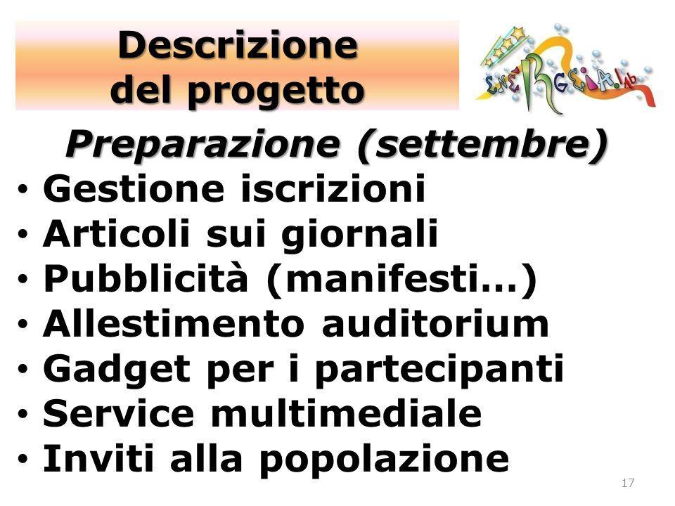 17 Preparazione (settembre) Gestione iscrizioni Articoli sui giornali Pubblicità (manifesti…) Allestimento auditorium Gadget per i partecipanti Servic