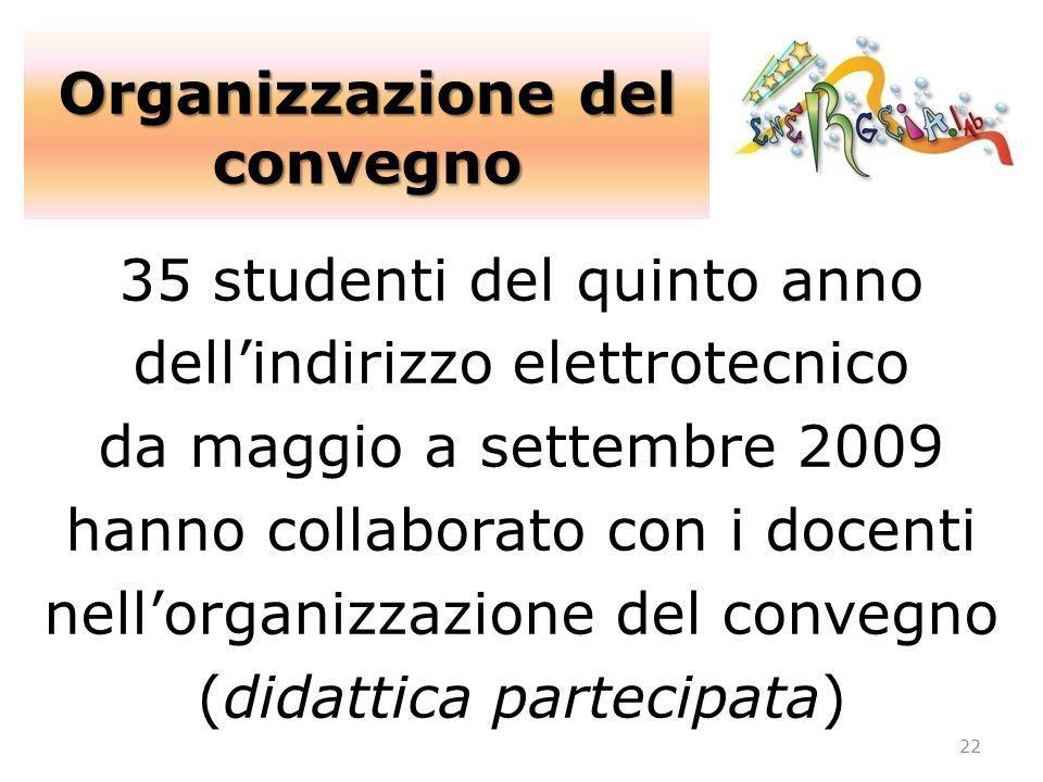 35 studenti del quinto anno dellindirizzo elettrotecnico da maggio a settembre 2009 hanno collaborato con i docenti nellorganizzazione del convegno (d