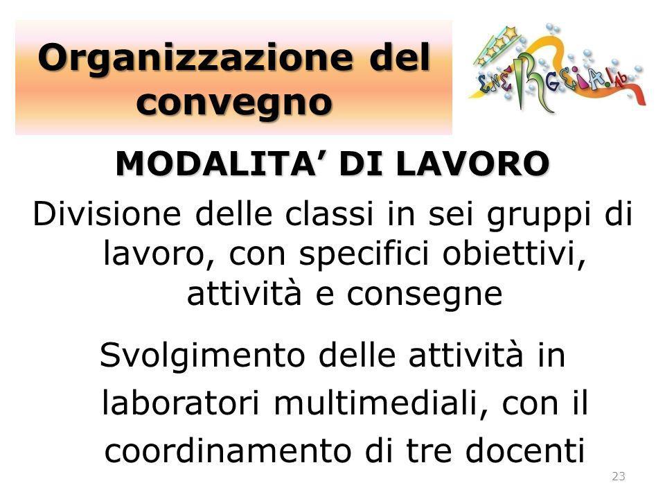 Organizzazione del convegno 23 MODALITA DI LAVORO Divisione delle classi in sei gruppi di lavoro, con specifici obiettivi, attività e consegne Svolgim