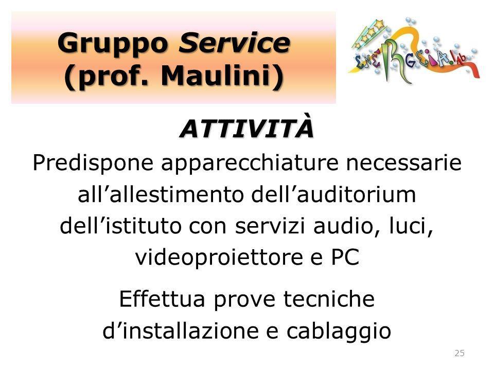 Gruppo Service (prof. Maulini) 25 ATTIVITÀ Predispone apparecchiature necessarie allallestimento dellauditorium dellistituto con servizi audio, luci,