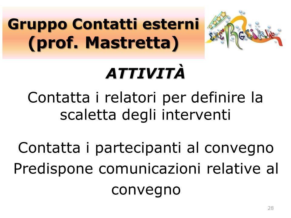 Gruppo Contatti esterni (prof. Mastretta) 28 ATTIVITÀ Contatta i relatori per definire la scaletta degli interventi Contatta i partecipanti al convegn