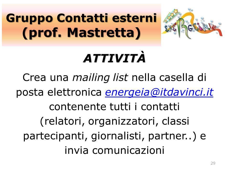 Gruppo Contatti esterni (prof. Mastretta) 29 ATTIVITÀ Crea una mailing list nella casella di posta elettronica energeia@itdavinci.itenergeia@itdavinci