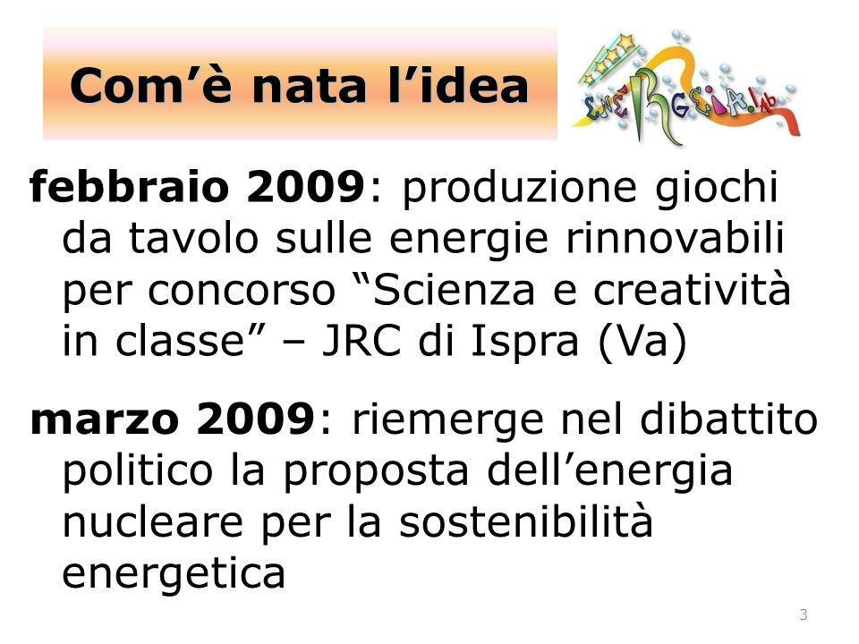 Comè nata lidea 3 febbraio 2009: produzione giochi da tavolo sulle energie rinnovabili per concorso Scienza e creatività in classe – JRC di Ispra (Va)