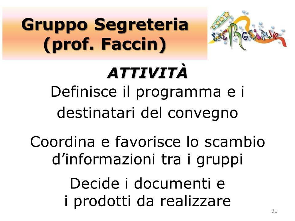 Gruppo Segreteria (prof. Faccin) 31 ATTIVITÀ Definisce il programma e i destinatari del convegno Coordina e favorisce lo scambio dinformazioni tra i g