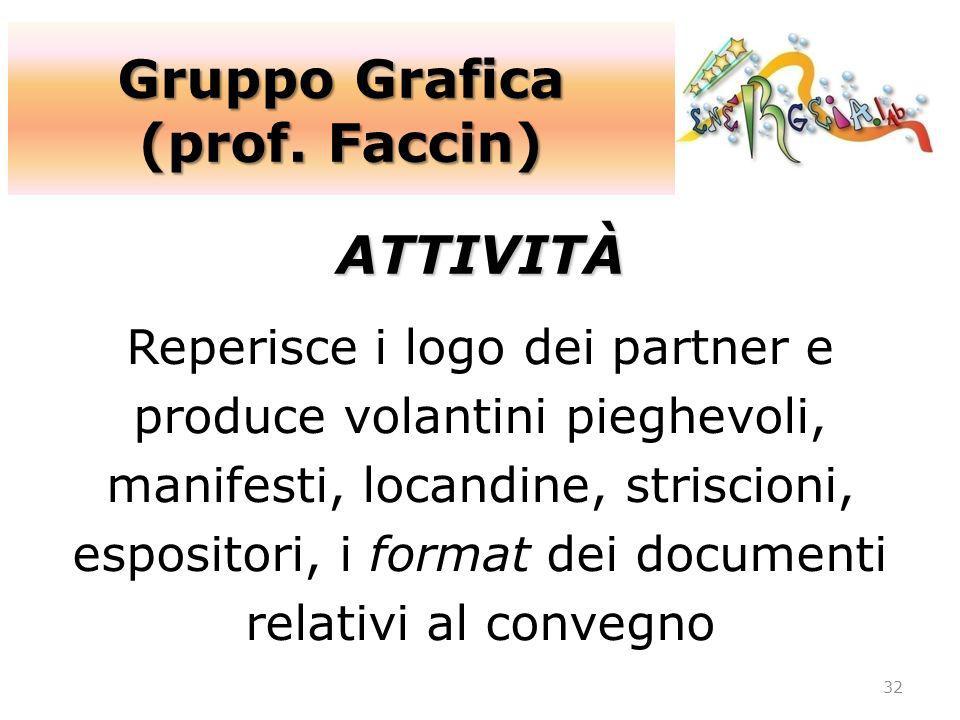 Gruppo Grafica (prof. Faccin) 32 ATTIVITÀ Reperisce i logo dei partner e produce volantini pieghevoli, manifesti, locandine, striscioni, espositori, i