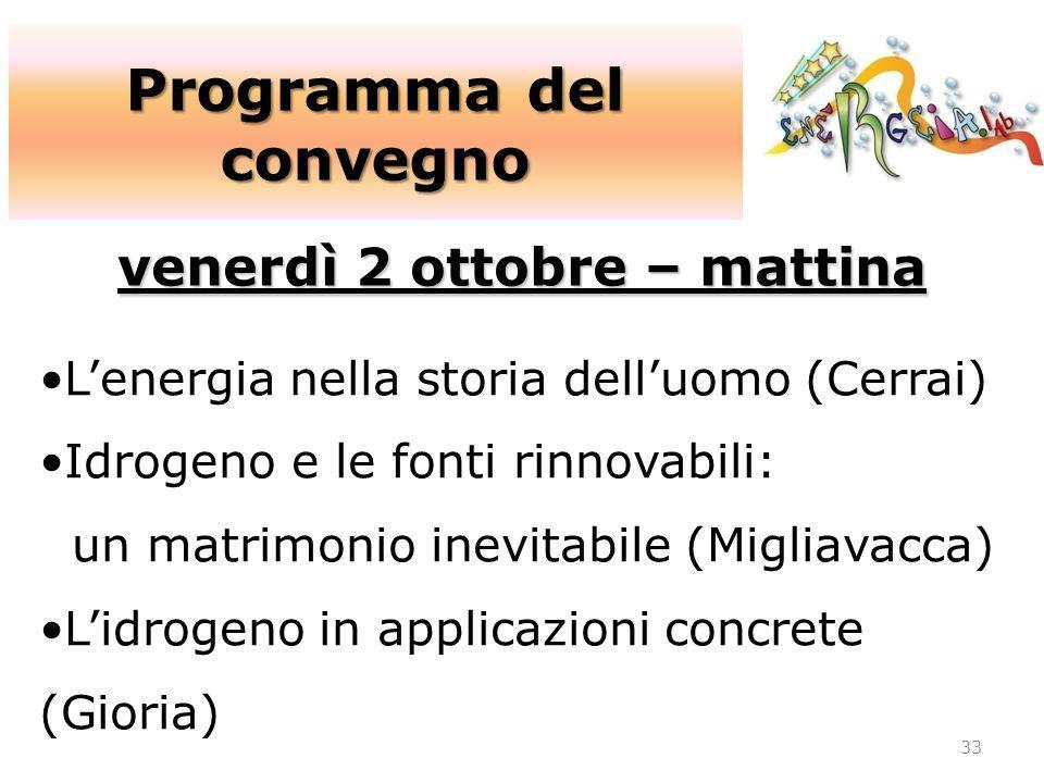 Programma del convegno 33 venerdì 2 ottobre – mattina Lenergia nella storia delluomo (Cerrai) Idrogeno e le fonti rinnovabili: un matrimonio inevitabi