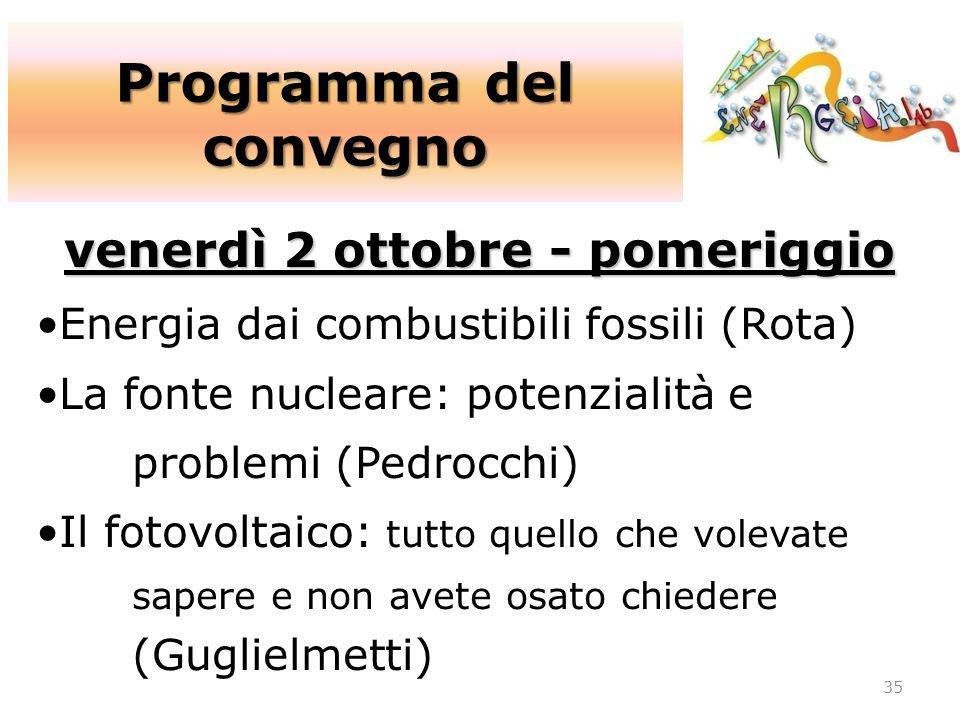 Programma del convegno 35 venerdì 2 ottobre - pomeriggio Energia dai combustibili fossili (Rota) La fonte nucleare: potenzialità e problemi (Pedrocchi
